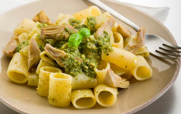 Rigatoni with artichokes pesto